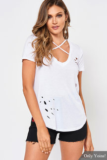 White Cross Strap Front Ripped T-shirt With Short Sleeves