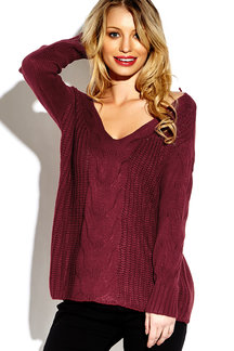 Burgundy V-neck Long Sleeves Causal Loose Jumper