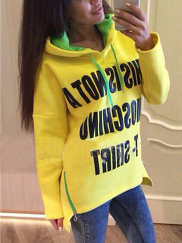 Yellow Letter Pattern Side Zipper Hoodie with Step Hem