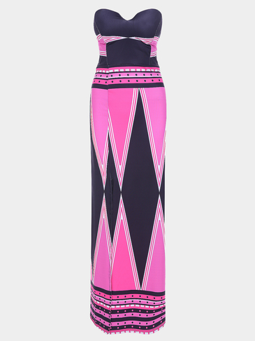 Sexy Strapless Stripe Pattern Splited Design Maxi Dress