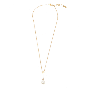 Gold Plated Pearl Lariat Necklace