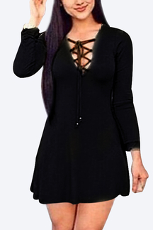 Black V Neck Lace-up Fashion Party Dress