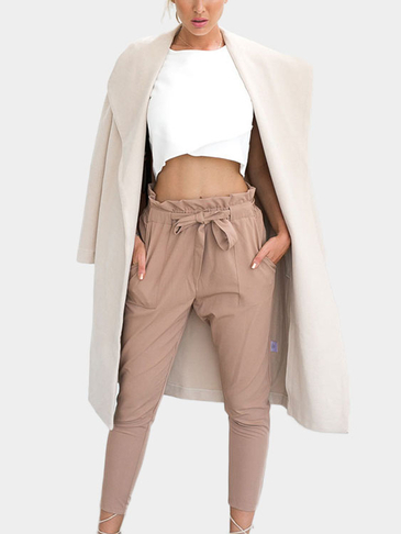 Khaki High-rise Ruffle Waist Pencil Pants with Belt