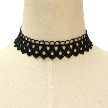 Black Lace Design Choker Necklace