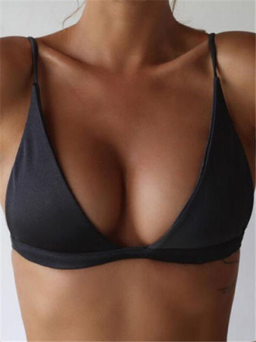 Black Simple Low Cut V-neck Bikini Top