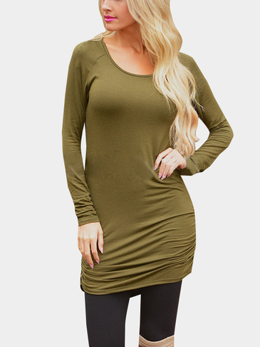 Army Green Casual Round Neck Ruffled Dress
