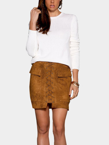 Brown Suede Lace-up Design Mini Skirt with Back Zipper