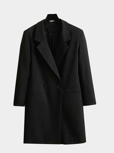 Revers Double Breast Longline Coat