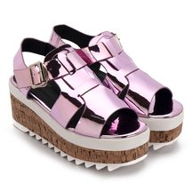 Pink Metallic Ankle Strap High Platform Sandals