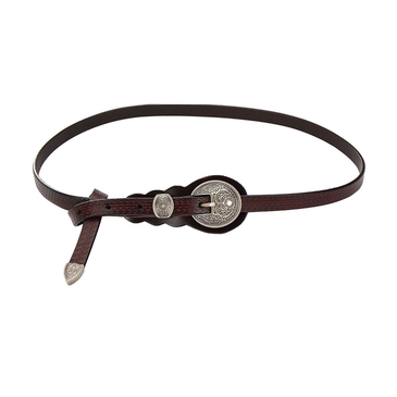 Carving Embellished Skinny Buckle Waist Belt in Coffee