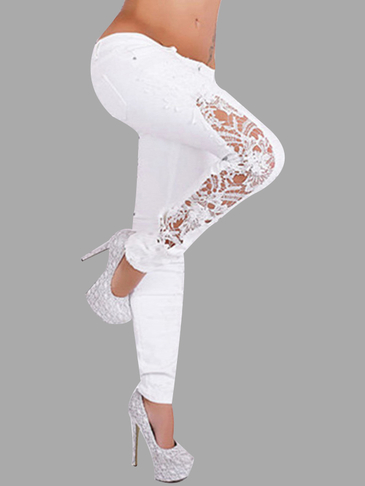 White Lace Détails Leggings Fashion