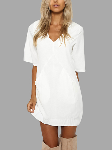 White V-neck Short Sleeves T-shirt Dress