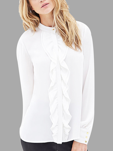 See-through Ruffled Button Down Blouse in White