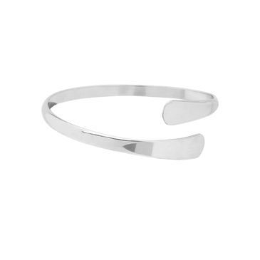 Silver Plated Smooth Design Open Bangle