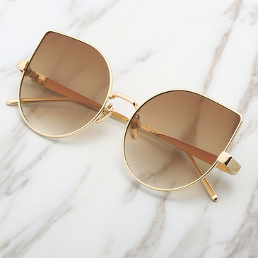 Aviator Flash Lens Cat Eyes Sunglasses In Gold Metal
