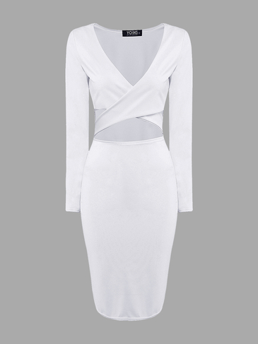 White Cut Out Midi Dress with Cross Front
