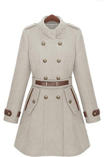 White Double Breasted Belt Trench Coat