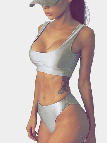 Sweet + Casual Round Neck Bikini Set