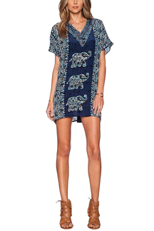 Folk Style Elephant Print V Neck Dress