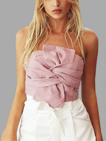 Suede Knot Front Wrap Chest in Pink