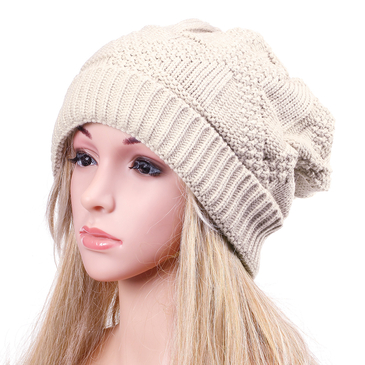 Beige Casual Hemp Knitted Turn Up Rib Beanie