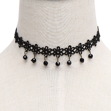 Crystal Pendant Crochet Flower Choker Necklace