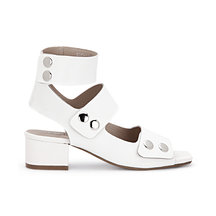 White Leather Look Block Heel Button Closure Caged Sandals
