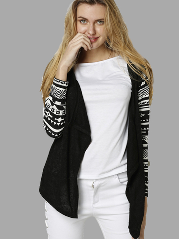 Irregular Hem Random Sleeves Print Black Cardigan