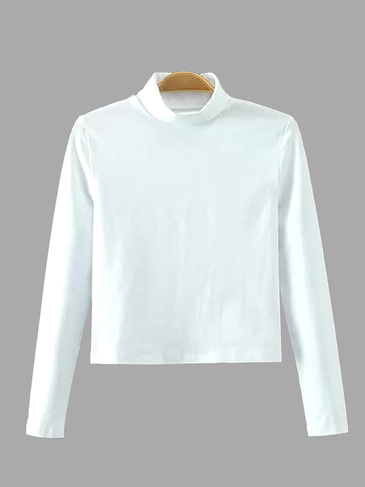 White Simple Perkins Neck Long Sleeve Top