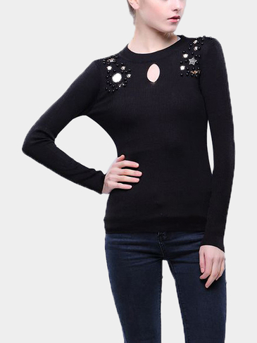Black Embellished Brooch Necklace Jumper