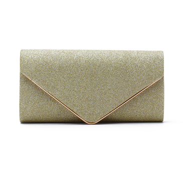 Gold Sequin Design Clutch Bag with Magnetic Closure