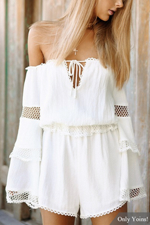 White Sexy Off Shoulder Bell Sleeves Playsuit