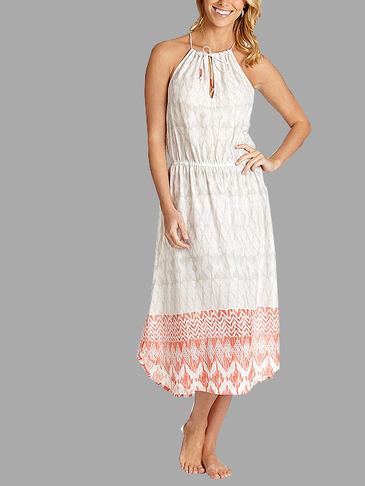 White Halter Design Pleats Details Random Pattern Strappy Dress for Beach