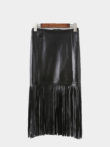 Leather-look Fringed Skirt