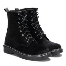 Black Velvet Lace-up Design Short Boots