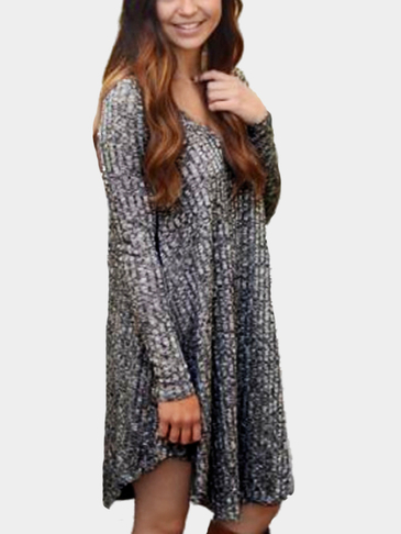 Grey Casual Round Neck Curved Hem Long Sleeves Mini Sweater Dress