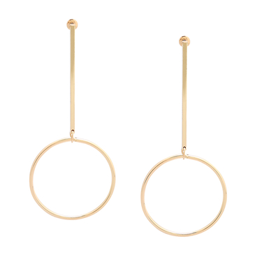 Large Golden Plated Geometric Circle Pendant Earrings