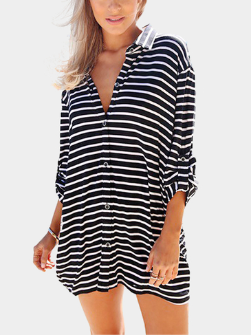 Striped Shirt with Adjustable Sleeves