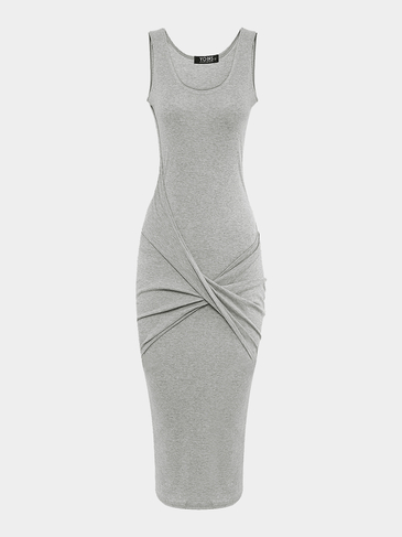 Grey Cross Front Bag Hip Midi Dress