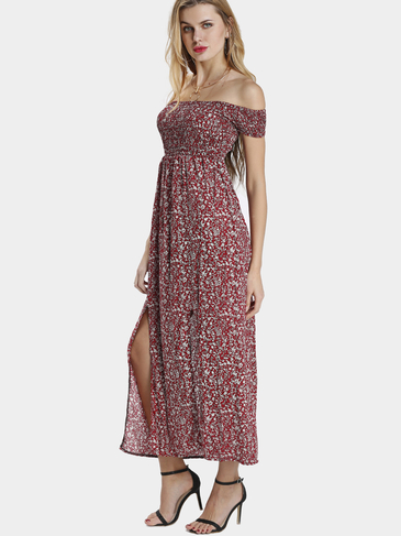 Цветочная печать Splited Off Shoulder Maxi Dress