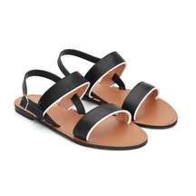 Black Simple Leather Look Cross Strap Flat Sandals with Adjustable Buckle
