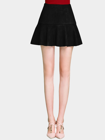 Black Artificial Suede Skater Mini Skirt