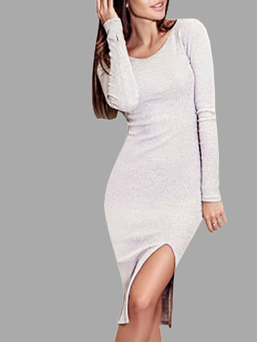 Long Sleeves Bodycon Side Splited Dress