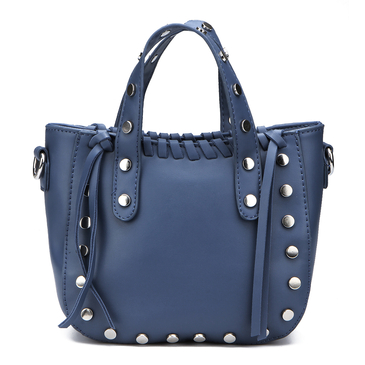Blue Rivet and Tassel Embellished Shoulder Bag