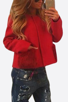 Red Loose Fit Short Outerwear with Fur Pockets Design