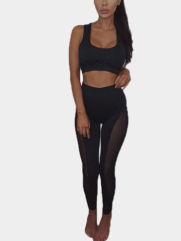 Black Mesh Patchwork Bodycon Two Piece Outfits