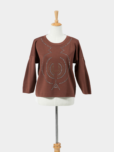 Brown Beaded Embellished Short Jumper