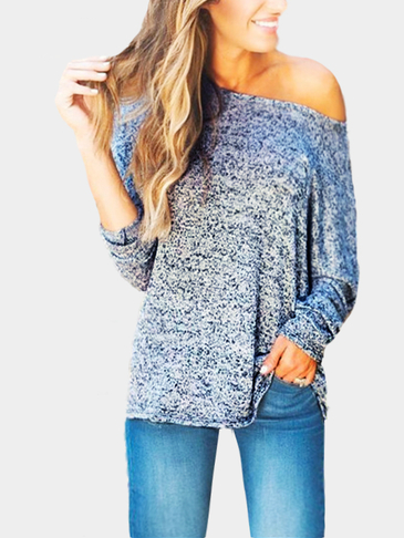 Blue Gray V-neck Knitted Jumper With Splited Hem