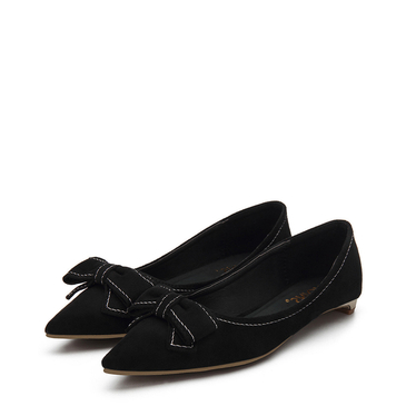 Black Bowknot Pointed Toe Suede Flat Shoes