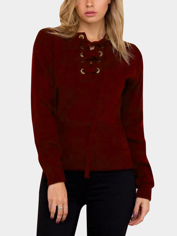 Burgundy Knitting Lace-up Long Sleeves Knitwear